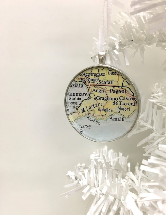 Christmas Ornament Positano Italy Amalfi Coast Vintage Map Ornament Gift For Traveler Map Gift Unique Ornament Gifts Under 20