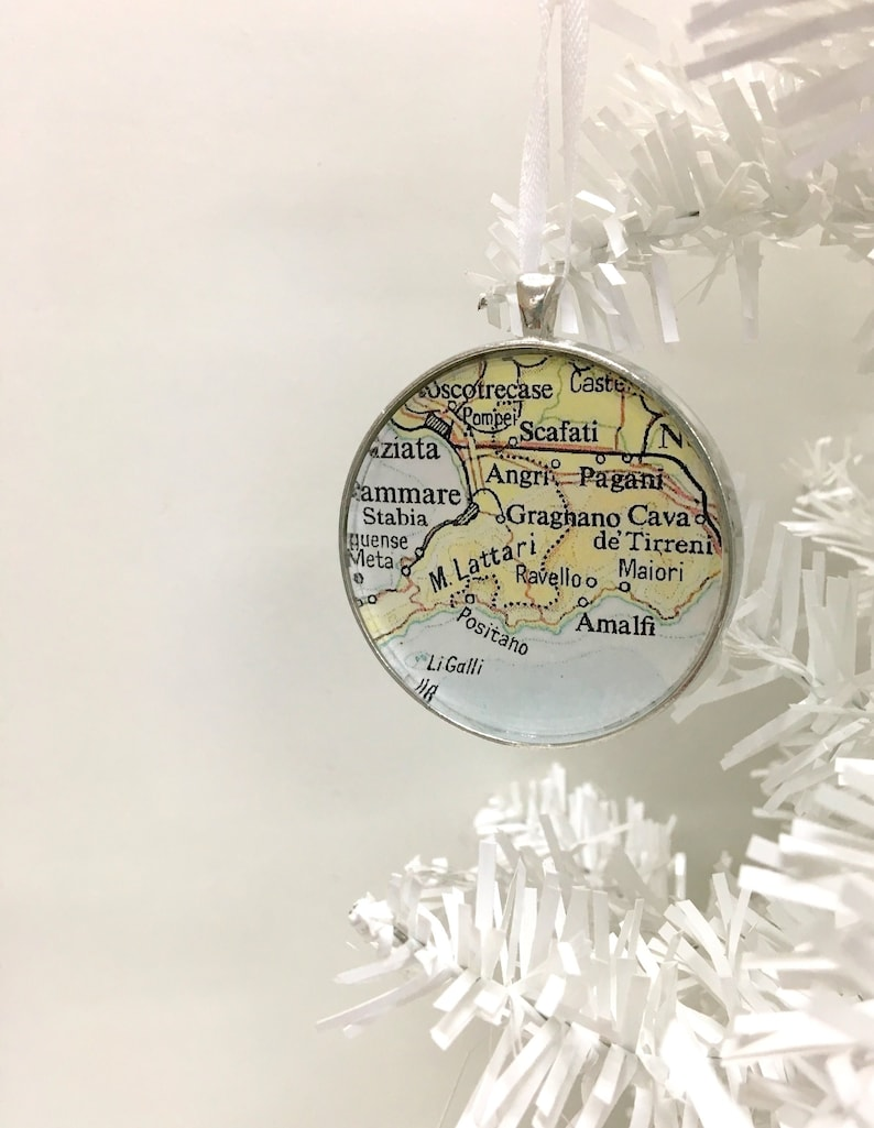 Sale Christmas Ornament Positano Italy Amalfi Coast Vintage Map Ornament Gift For Traveler Map Gift Unique Ornament Gifts Under 20