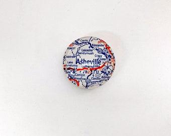 Asheville NC Vintage Map Magnet, map gifts for traveler, fridge magnet, unique gift, glass magnet, guy gift, North Carolina, Asheville gift