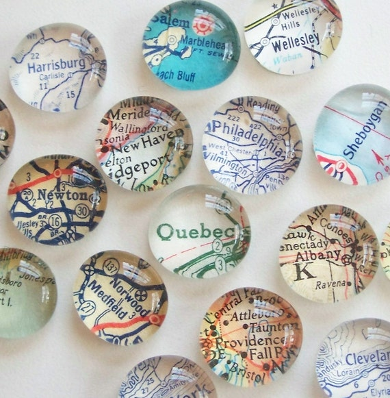 or International Location Atlas Map City or Town or State Button Magnets Custom U.S