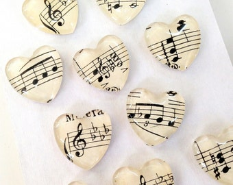 Vintage Sheet Music Magnets, Set of 2 Heart shaped magnets, Rare Earth magnets, music notes, Music Teacher gift, musician gift, G Clef notes