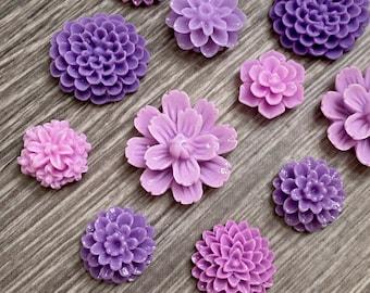 Lilac Purple Flower Magnet Set, resin flower Magnets, strong fridge magnets, gift for gardener, magnet set, garden club gift, lavender