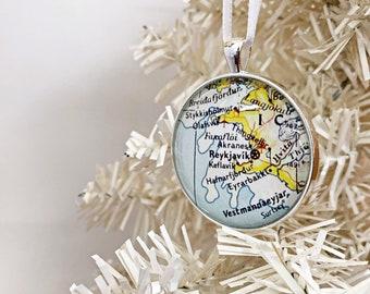 Christmas Ornament, Reykjavik Iceland Vintage map Ornament, gift for traveler, Iceland map gift, unique ornament, souvenir, lg pendant
