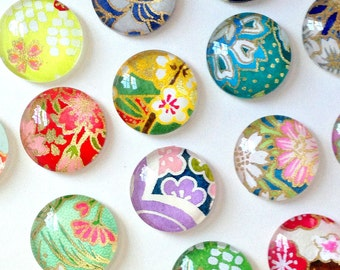 MOST POPULAR. Mixed Bag. set of 4 or 8 cute Glass Magnets / Push Pins, Japanese yuzen Chiyogami paper, colorful pretty floral Fridge Magnets