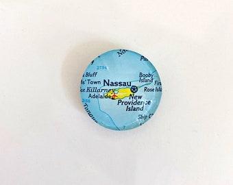 Nassau Bahamas Vintage Map Magnet, map gifts for traveler, fridge magnet, unique gift, glass magnet, Bahamas magnet, destination wedding