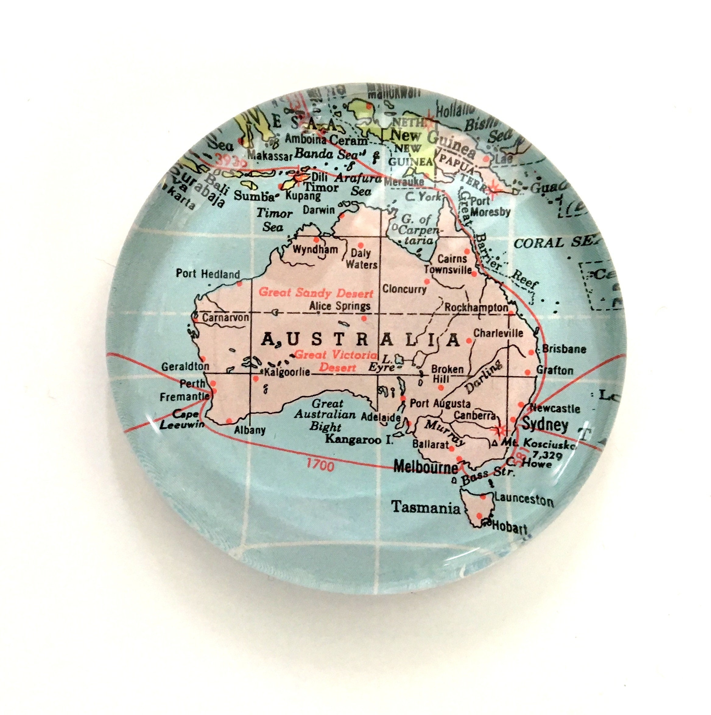 Map Of Australia 1700.Australia Glass Paperweight Handmade Vintage Map Paperweight Etsy