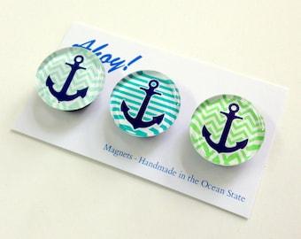 Nautical magnet set of 3 Fridge Magnets. fun colorful anchor magnets, fridge magnets, gift for beach house, housewarming, glass magnets