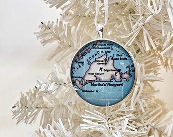 Marthas Vineyard Ornament, Vintage Map Ornament, Christmas Ornament, MV MA, Xmas Gift, map, Vineyard Haven Ornament, Edgartown, Oak Bluff