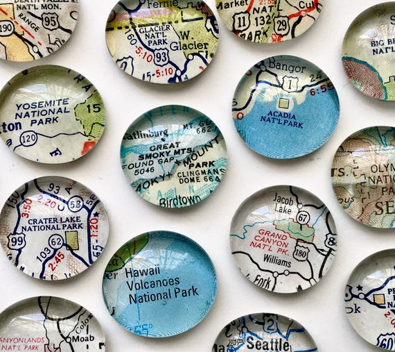 National Parks. Vintage Map Magnets. Customized personalized