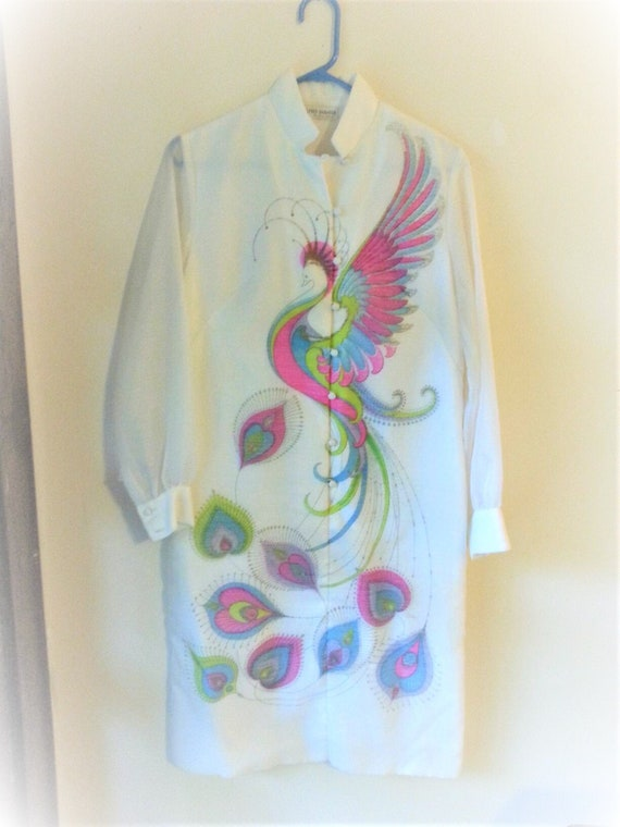 Spectacular Vintage Alfred Shaheen Dress Peacock P