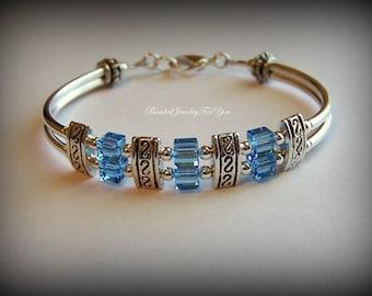 March Birthstone Bracelet: Birthstone Jewelry, Aquamarine Jewelry, Aqua Birthstone Bracelet, March Birthstone Jewelry, Custom Birthstone