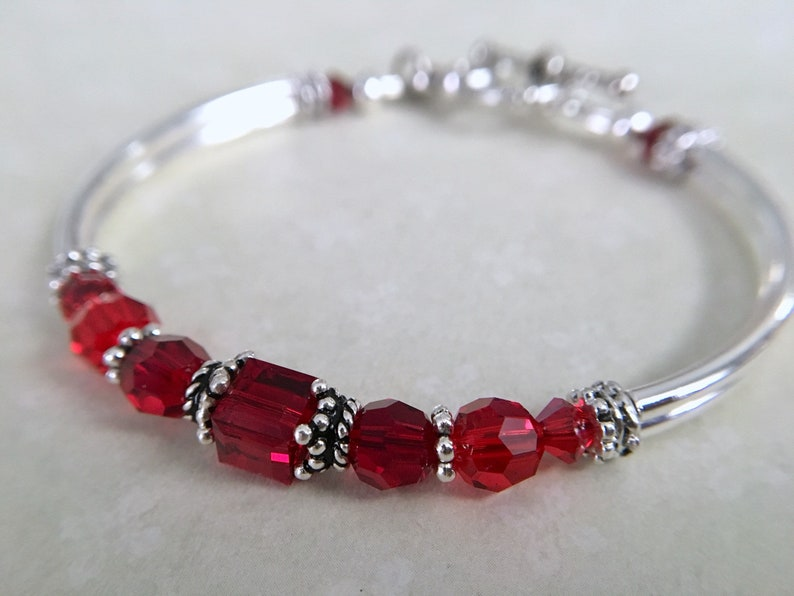 birthday gift personalized bracelet bridesmaid bracelet july birthstone jewelry birthstone gift Ruby red bracelet birthstone bangle
