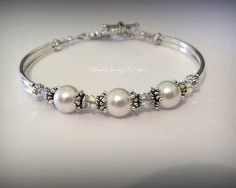Bridal Gift Set Of FOUR: Bridesmaid Pearl Bracelet, Pearl Wedding Jewelry, Wedding Bridal Jewelry, Wedding Party Gift, Jewelry Bridesmaid