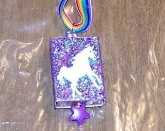 cute glittery purple and pink unicorn and Pegasus Matchbox Ornament