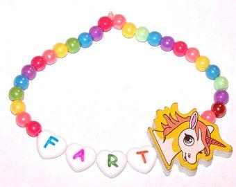 custom rainbow unicorn word bracelet