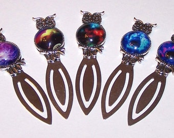 owl bookmark with sky cabochon