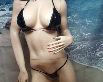 a28ffffc2b8 PVC black micro thong bikini