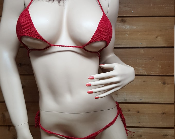 Featured listing image: Cherry Red micro thong bikini set