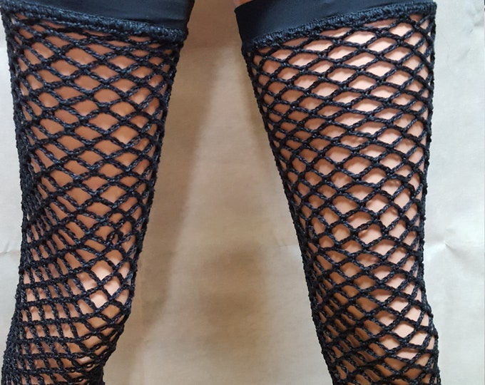 Featured listing image: Black thigh high fishnet leggings, footless