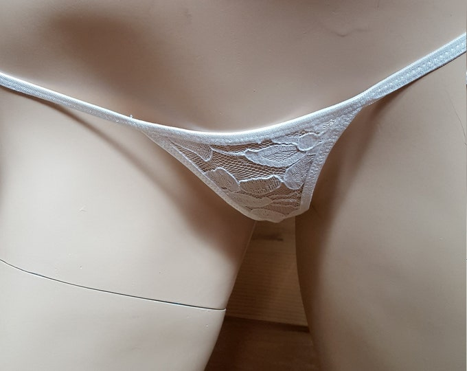 Featured listing image: White lace micro thong, bikini panties