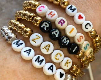 Custom Beaded Name Stretch Bracelet, design your own bracelet with your choice of letter beads and  metal finish
