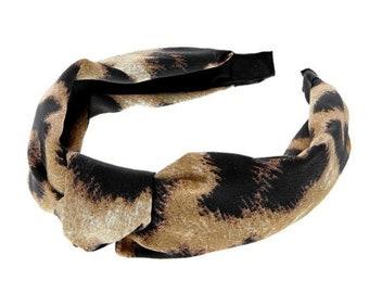Knotted Leopard Pattern Satin Headband