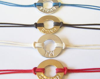 Stamped Washer Bracelets, adjustable, only silver available at this time, many cord colors to choose from with your own custom engraving