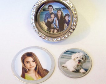 NEW!! Custom Photo Locket Plates w/ your provided photo......will fit into any brand of floating charm lockets