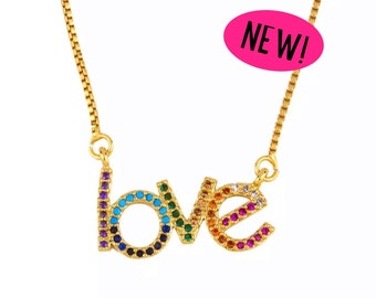 NEW! Gold Filled Rainbow Love Necklace