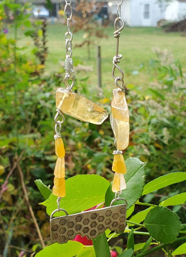 Honeycomb Sterling silver and Citrine necklace and earrings