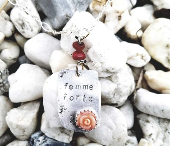 foto de Femme Forte Sterling Silver stamped pendant with a Coral | Etsy