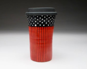 Bright Red Travel Mug, Black and White Polka Dots and Silicone Lid