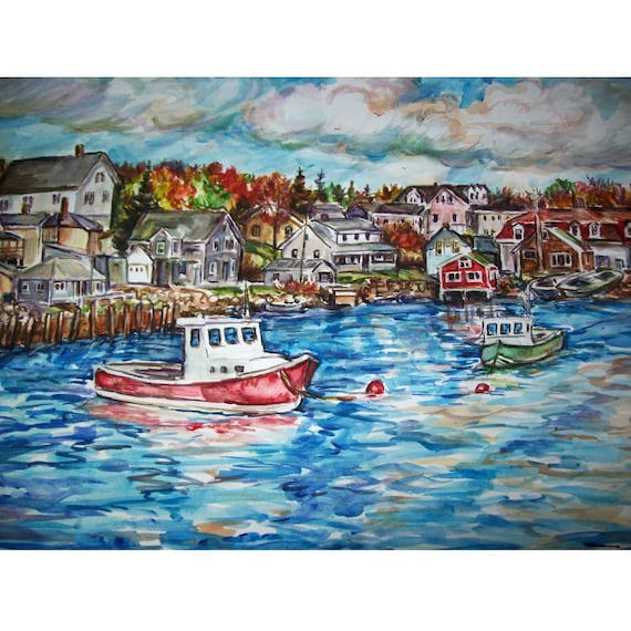 Front De Mer Automne Peinture Originale Paysage Aquarelle Etsy