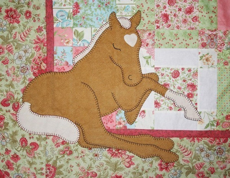 Pattern palomino dreams applique baby horse quilt etsy