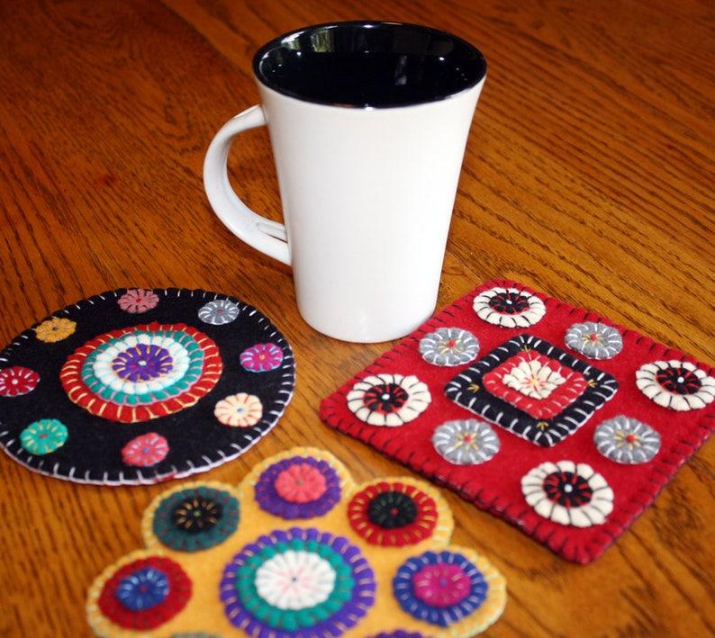 Make Your Own Wool Penny Rug ROUND Mug Rug Pre Cut Wool Appliqu\u00e9 Kits Wool Pennies Wool Appliqu\u00e9 Kit Wool Kit