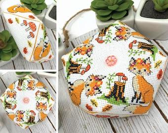 Modern Cross Stitch - Fox Biscornu Cross Stitch Pattern by Tiny Modernist