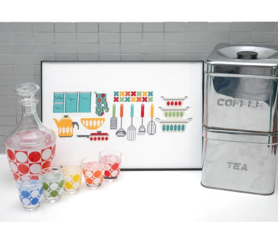 Modern Cross Stitch - Kitchen Gadgets Cross Stitch Pattern by Tiny Modernist