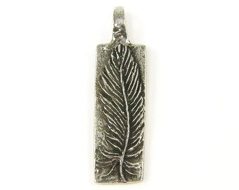 Feather Pendant Silver Pewter Feather Charm To Thine Own Self be True Green Girls Studio Jewelry Pendant for Necklace  S21-3 1