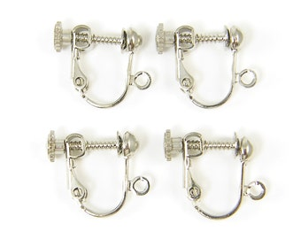 20 Pcs Rhodium Tone Antique Silver Clip on Earring Findings Silver Plated Screw Back with Loop |S15-3|20