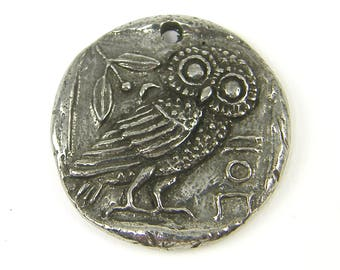 Owl Pendant Silver Owl Pendant Pewter Athena's Owl Charm Green Girl Studios Nature Jewelry Component  S14-4 1