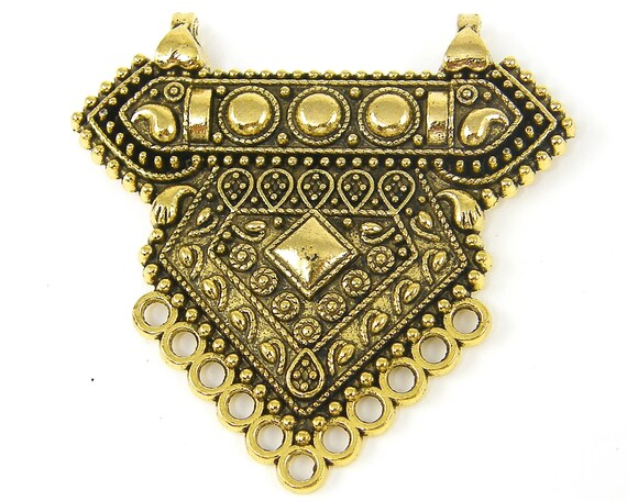 Antique Gold Tribal Pendant Finding Ethnic Jewelry Component |G3 12|1