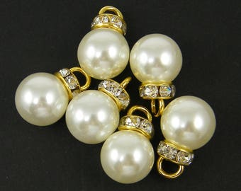 8 Pcs White Pearl Beads 11.5mm Gold and Clear Rhinestone Bead Cap White Pearl Charms Pendants White Pearl Earring Findings Dangle  LG9-9 8
