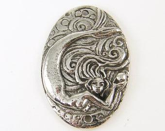 Mermaid Pendant Silver Pewter Pendant Green Girls Studio Jewelry Connector Bracelet Link |S26-9|1