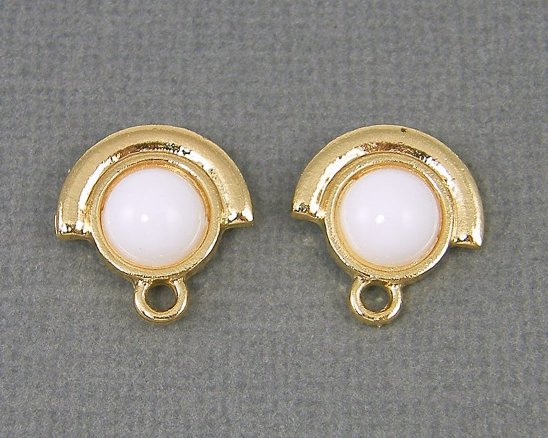 White Earring Posts Gold Semi Circle Round Cab Framed Earring Posts with Loop White Gold Earring Findings WH2-5 2