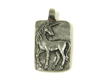 Unicorn Pendant Silver Unicorn Charm Green Girl Charm Believe Pewter Fantasy Necklace Component  S13-5 1