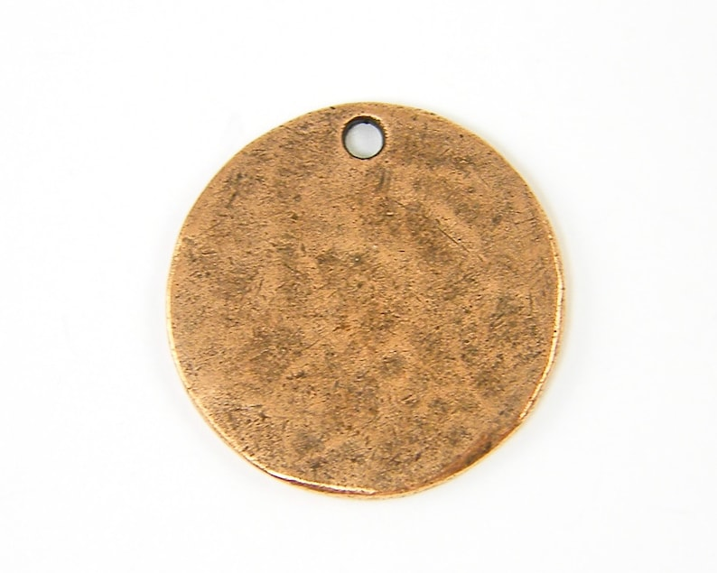 NU3-4 Copper Stamping Blank Antique Copper Round Circle Tag Textured Hammered Disc Pendant Charm XN