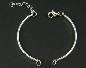 4 Pcs Bright Silver Bangle Bracelet Finding with Extender Chain Bracelet Component Jewelry Supply for DIY Bracelet Base |LG6-11|4