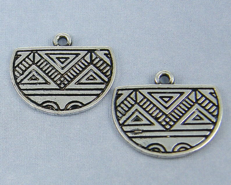 S3-10|2 Silver Tribal Half Circle Earring Findings Antique Silver Geometric Half Moon Earring Dangles Boho Gypsy Jewelry Component