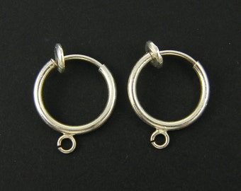Silver Spring Clip Earring Finding, Silver Hoop Clip Earring Component with Loop Non Pierced Earring Supply |s23-13|2