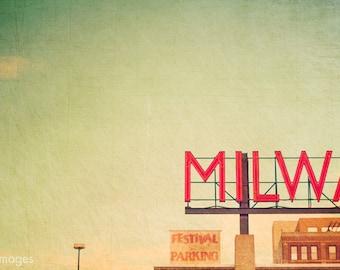 MPM; fine art print of Milwaukee Public Market sign, Milwaukee, Wisconsin, Midwest art, modern art, minimal art, fine art photography